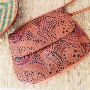Handbags - Leather Tooled Mini Bag/Shoulder/Crossbody
